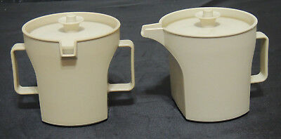 Vintage Tupperware Almond Sugar Bowl/Creamer Set #1414/1415 Push Button Lids