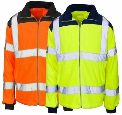 Mens Adult Hi Vis Viz Visibility Collar Zip Up Rain Coat Boys Full Sleeve Jacket