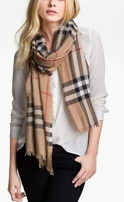 5d81ded55263 BURBERRY Giant Check Print Wool   Silk Gauze Scarf - Camel Check - 220x70cm