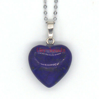 Natural Lapis Lazuli Crystal Heart Stone Pendant Silver Plated Chain Necklace