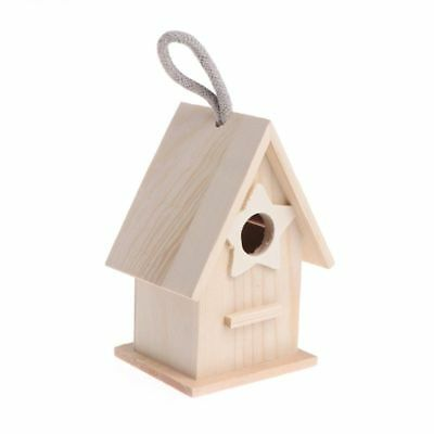 Wooden Bird House Birdhouse Hanging Nest Nesting Box W/ Hook Home Garden Decor