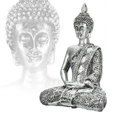 Thai Buddha Statue Sculpture Meditating Antique Home Ornament Feng Shui Silver