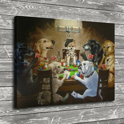 Dogs Playing Poker Home Decor Room HD Canvas Print Picture Wall Art Painting