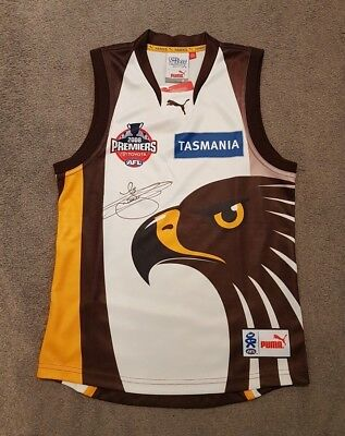2008 Hawthorn Hawks Away Premiership Jumper Hand Signed By Lance Franklin - Rare