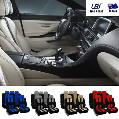 Universal 9Pcs Car SUV Seat Covers Full Set For Auto Front + Rear Seat Headrests