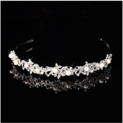 2cm High Large Adult Crystal Pearl Wedding Bridal Party Pageant Prom Tiara Crown