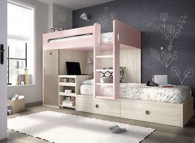 design hochbett kinderzimmer xxl stauraum etagenbett f r zwei in 29 farben eur. Black Bedroom Furniture Sets. Home Design Ideas