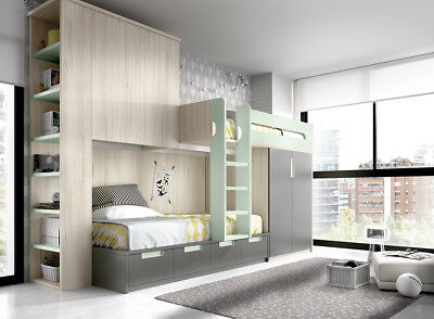 kinderzimmer infinity mit hochbett rutsche leiter in 41 farben stauraum bett eur. Black Bedroom Furniture Sets. Home Design Ideas
