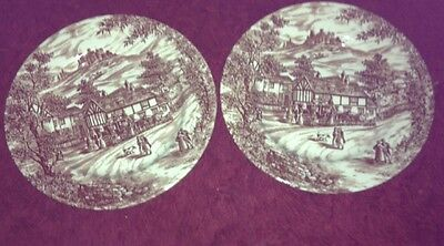 Vintage English J Broadhurst SWAN INN Dessert/Starter Plate Brown & White X 2
