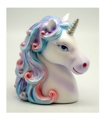 White Unicorn With Colorful Hair Polyresin Bank