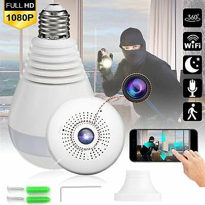 360° Panoramic SPY Mini Wifi IP Security Hidden Camera 1080P Wireless Light Bulb