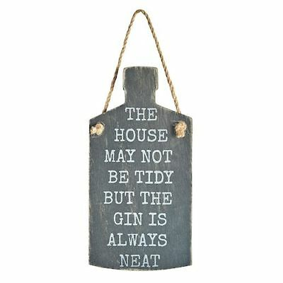 Rustic Wooden Hanging Word Sign Gin Bottle Style Shabby Vintage Wall Plaque