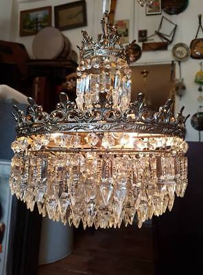 ANTIQUE CHANDELIER FRENCH BASKET STYLE VINTAGE CRYSTAL LAMP  Ø 12.5 dmtr 1970's
