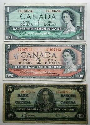 Canada 1937-1952 One, Two, & Five Dollar Notes, circulated.