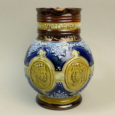 Royal Doulton Queen Victoria Diamond Jubilee Pottery Jug C.1897