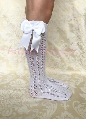 Spanish/Romany Knee High Openwork Double Bow Socks, Girls/Baby/Summer/School