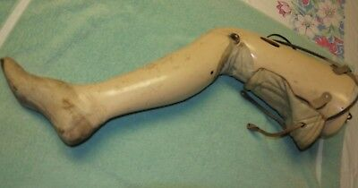 """Antique Vintage 31"""" Ladies Jointed Prosthetic Artifical Leg Christmas Story"""