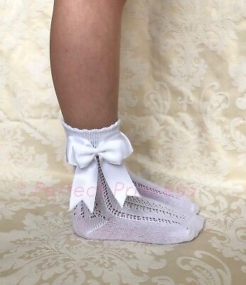 Spanish/Romany Double Bow Openwork Ankle Socks Girls/Baby/Summer