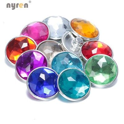 11pcs/lot Colorful Acrylic Crystal Charms 18mm snap button DIY Jewelry KZ0037