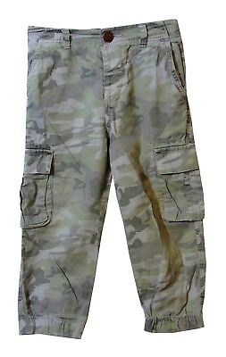 Boys Next Khaki Green Camouflage Cargo Utility Cuffed Trousers Age 2-3 Years