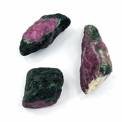 200.00 Ct Natural Ruby Zoisite / Anyolite Loose Gemstone Rough Lot 3 Pcs- RH1800