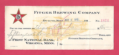 Rare Vintage 1912 FITGER'S BEER LARGE SIZE PRE-PRO CHECK Duluth Mn Minnesota