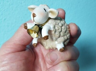 Ceramic White & Gold Lamb with bell Sheep Collectible Small Figurine Mug Hanger