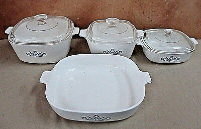 4 Vintage Corning Ware Pyrex Cerole Dishes W Lids Made In Usa