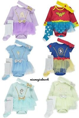 Brand New George Baby Girl Disney 3 Piece Tutu Set W/Tights & Headband