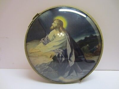 Vtg Convex Round Dome Bubble Glass Religious Christian Jesus Wall Hanging Art
