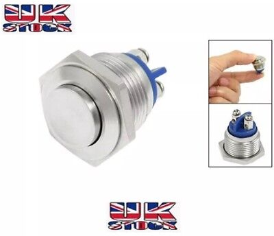 16mm Waterproof Momentary Action Metal Push Button Switch SPST Raised Flat Head