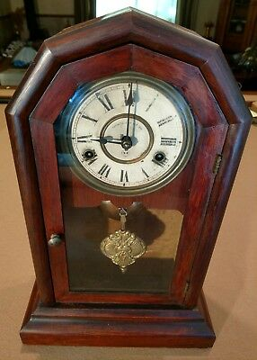 1878 antique Seth Thomas arch top Mantle/ shelf - mahogany wood clock- running-