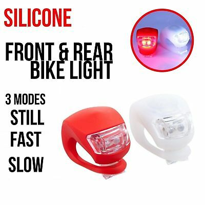 2x Ultra Bright Led Flexible Silicone Bike Bicycle Front Rear Lights