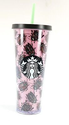 Starbucks Pink w/ Beetles Cold Cup 24 oz Venti Tumbler Cup