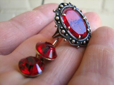 VINTAGE STERLING SILVER RING with RED STONE and WHITE METAL EARRINGS!  #602