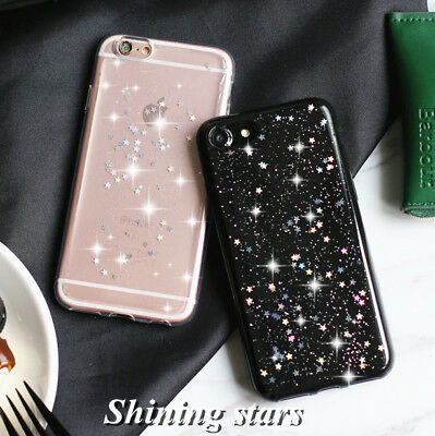 For iPhone X 8 7 6s Plus Shockproof Bling Cute Star Clear Case Soft Rubber Cove