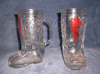 """Pair Of Budweiser Cowboy Boot Beer Glasses """" This Bud's For You """" Gabby's Saloon"""