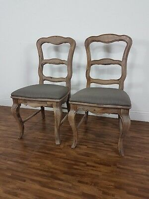 2 French Louis Style Shabby Chic Provincial Farmhouse Solid Wood Dining Chairs