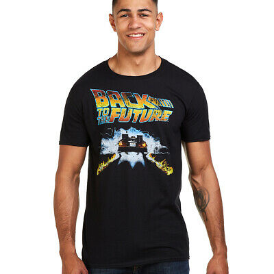 Back to The Future - DeLorean - Flaming Fire Tyre Tracks - Mens T-Shirt