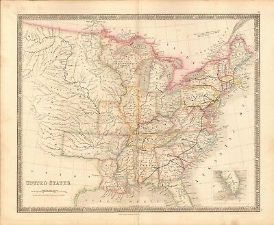 1843 Antique Map- Dower - United States, Separate Texas
