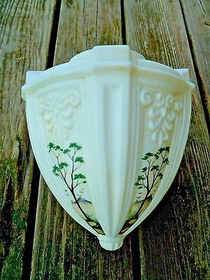 Antique  Victorian Hanging glass Lamp Shade painted pendant ceiling fixture deco