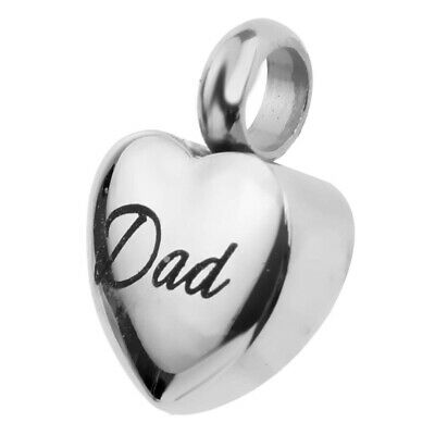 Silver Love Heart Cremation Keepsake Memorial Urn Ash Holder Family Gift Jewelry