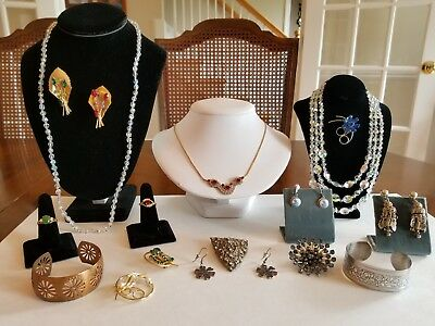 Vintage Estate Jewelry Lot Aurora Rhinestone Necklaces Copper Bracelet Clip