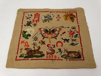 ANTIQUE 1878 Berlin Work Tapestry Sampler Pillow Cover Animals Floral Butterfly