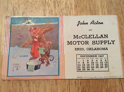 1947  McClellan Motor Supply Enid, OK AWSON WOOD Advertising Ink Blotter OIL GAS
