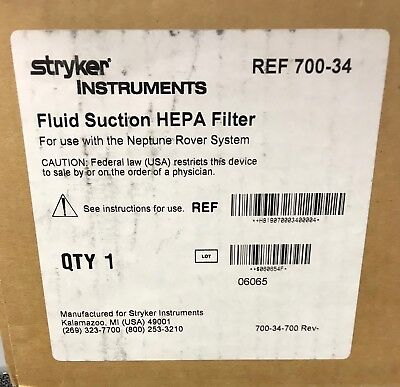 Stryker Fluid Suction HEPA Filter - Reference: 700-34 - New