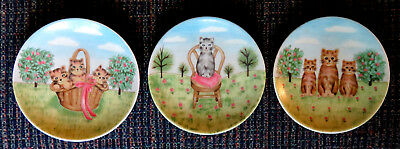 3 Diff. Brown and Gray Tabby Cat Kittens Mini 4-Inch Plates JAPAN