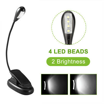 4 Large LED Flexible Neck Light Clip on USB Book Lamp Reading Rechargeable UK