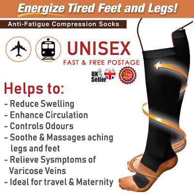 Pair Unisex Copper Infused Anti-Fatigue Compression Socks Varicose Vein Stocking