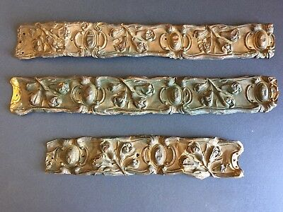 3 Piece French Antique Embossed Gilt Brass Valance Trim Picture Frame Mirror